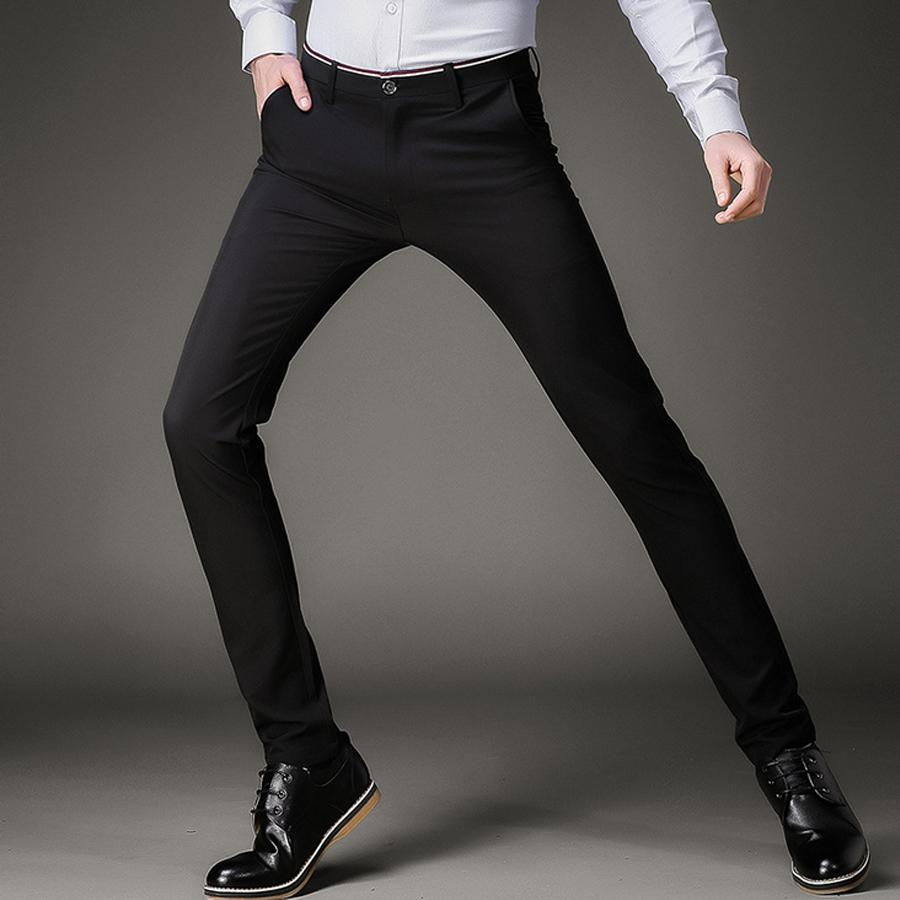 5bfa0dfd4a24 2019 Fashion Skinny Casual Pants Men Stretch Business Office Formal Mens  Dress Pants Slim Fit Pencil Male Trousers Black From Sugarlive, $48.55 |  DHgate.Com