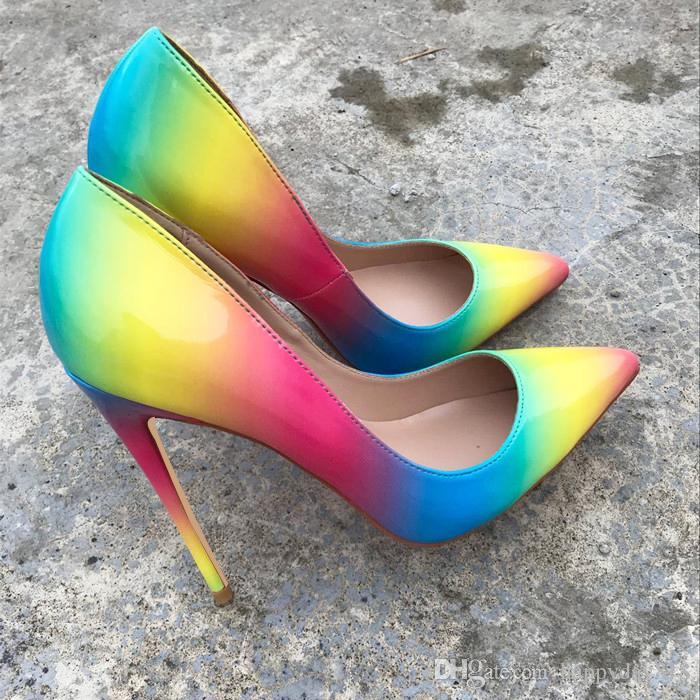 Ücretsiz kargo moda kadın pompaları gökkuşağı rugan nokta ayak yüksek topuklu ince topuk ayakkabı hakiki deri 120mm 100mm gerçek fotoğraf