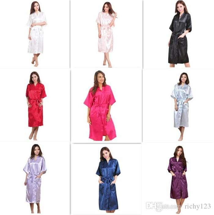 10pcs 9 colors Fashion Women's Solid Silk Kimono Robe for Bridesmaids Wedding Party Night Gown Pajamas M011