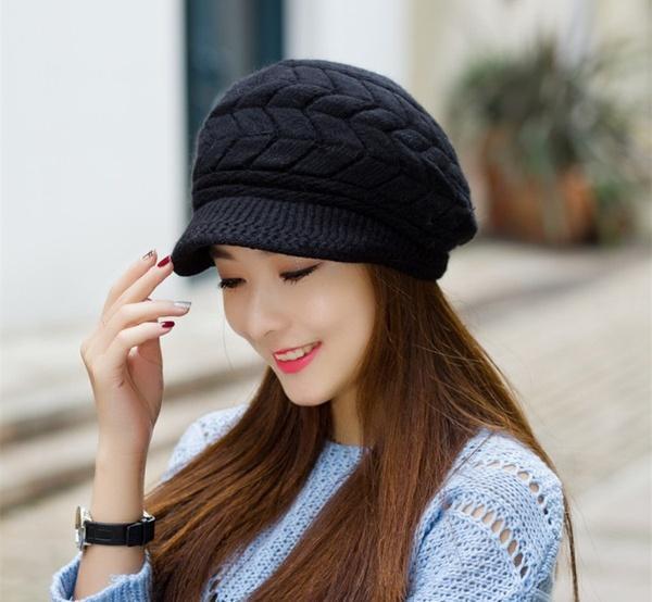 Compre Sombrero Elegante De Las Mujeres Gorras De Punto De La Caída Del  Invierno Sombreros Hechos Punto Para La Mujer Sombrero De La Piel De Conejo  Otoño E ... 727558c063d9