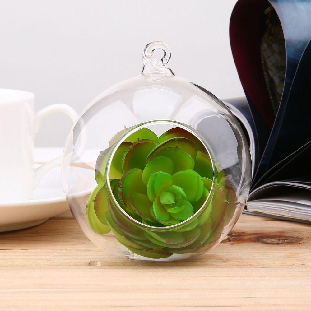 New 8cm Terrarium Glass Round 1 Hole Flower Stand Pot Plant