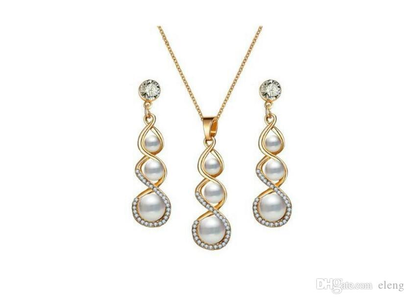 2018 United States Eight words pearl gourd necklace suit diamond Necklace Girl Jewelry +