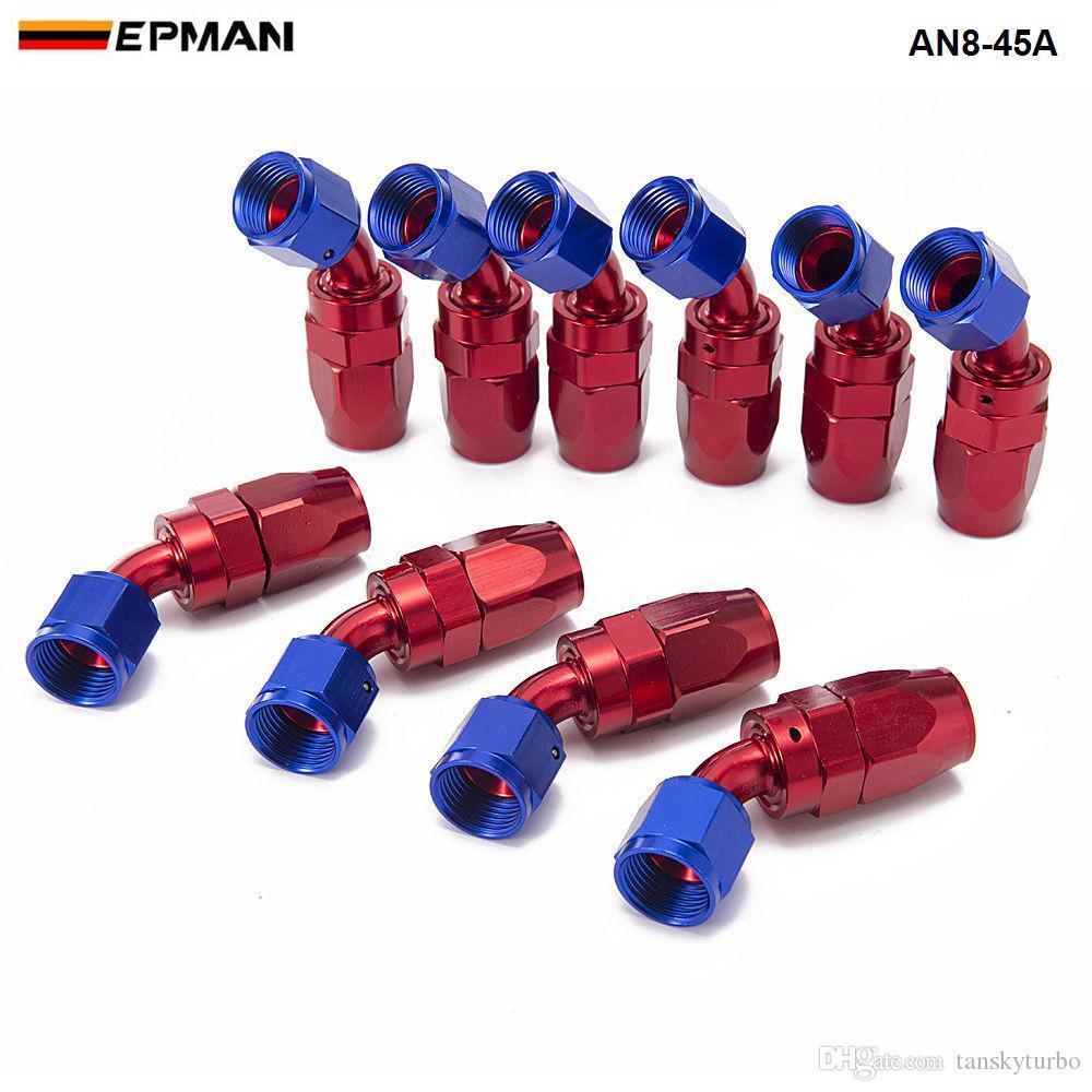 EPMAN - 10 unids / set AN8 45 grados Aluminio Giratorio Aceite / Combustible / Aire / Gas Línea Manguera Extremo Azul AN8-45A