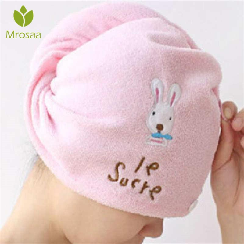 Cute Soft Hair Towel Microfiber Solid Quickly Dry Hair Hat Women Girls Ladies Cap Bath Accessories Drying Towel Head Wrap Hat