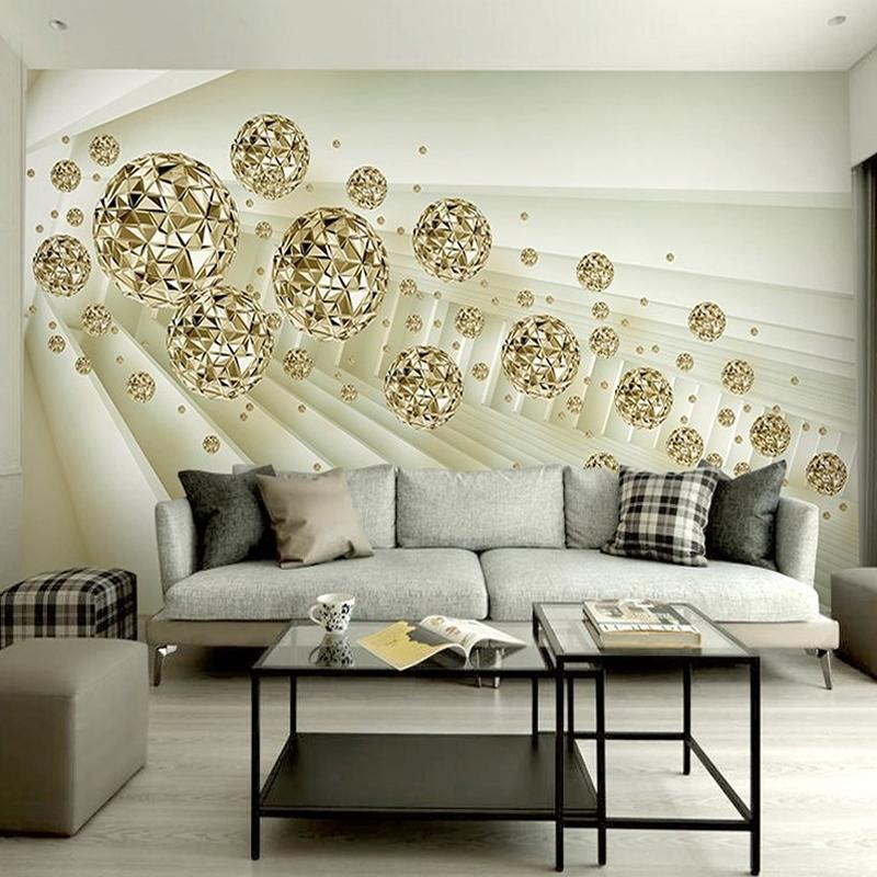 Custom Photo Mural Wallpaper 3d Stereo Abstract Space Golden Ball