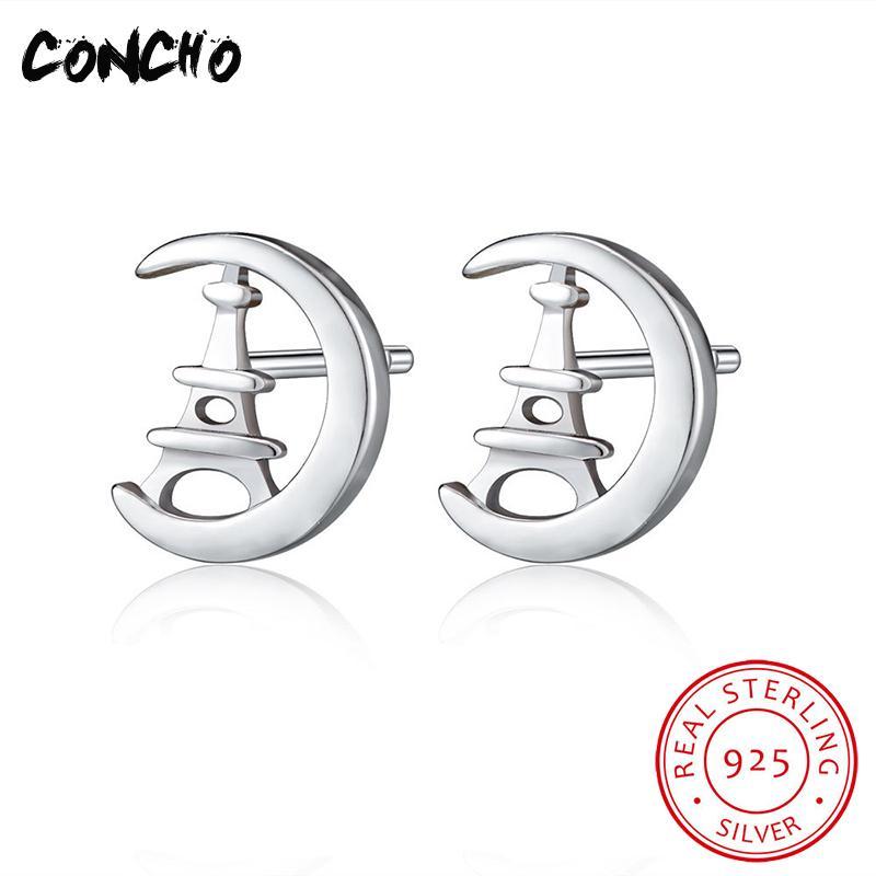 Concho Jewelry 925 Sterling Silver Pagoda Shape Stud Earrings For Women Wedding Party Gift 2018 Classic Women Charms Earrings