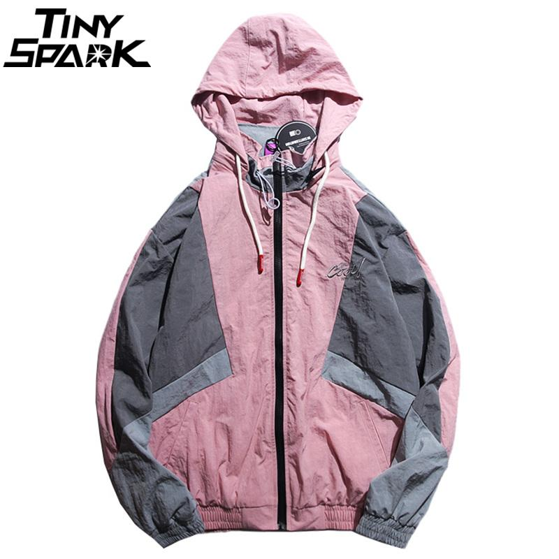 db2150be2a9 Men Hip Hop Hooded Windbreaker Jacket Vintage Pink Color Block Jacket Coat  Streetwear Autumn 2018 Casual Track Embroidery Mens Fall Jackets Army Print  ...