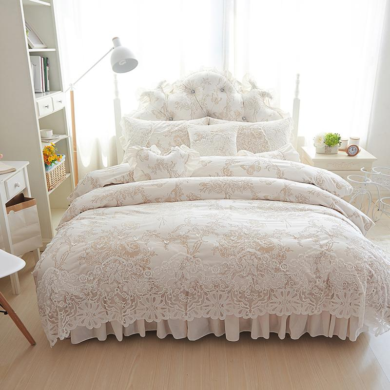 4 6 Princess Style Winter Bedding Set White Bed Skirt Lace Duvet