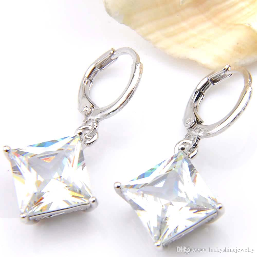 10Prs Luckyshine Classic Fashion Fire Square White Topaz Cubic Zirconia Gemstone Silver Dangle Earrings for Holiday Wedding Party