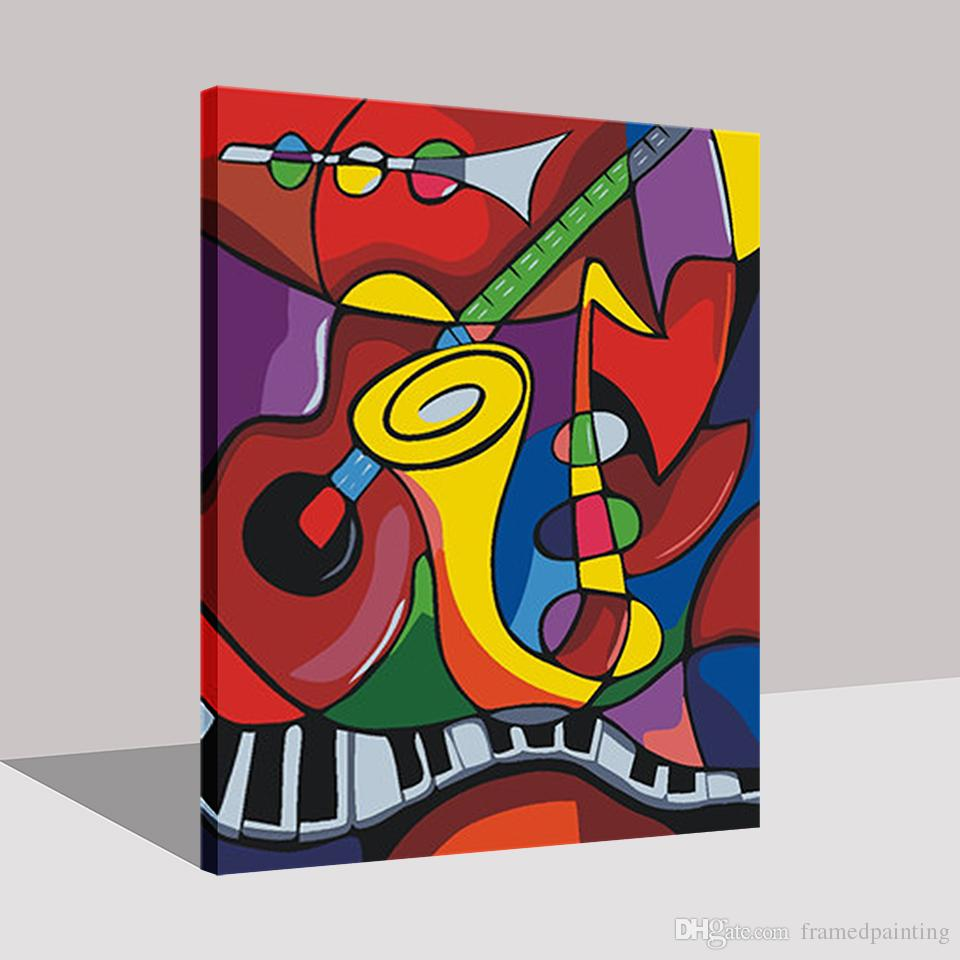 Framed Painting By Numbers DIY Digital Music World Oil Pictures On Canvas Handpainted For Home Decor Wall Art Abstract Drawing