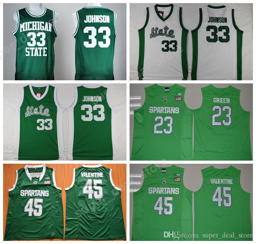 get cheap c2411 7b1dc Michigan State Spartans 33 Magic Johnson Jersey College 45 Denzel Valentine  23 Draymond Green Basketball Jerseys Green White Embroidery