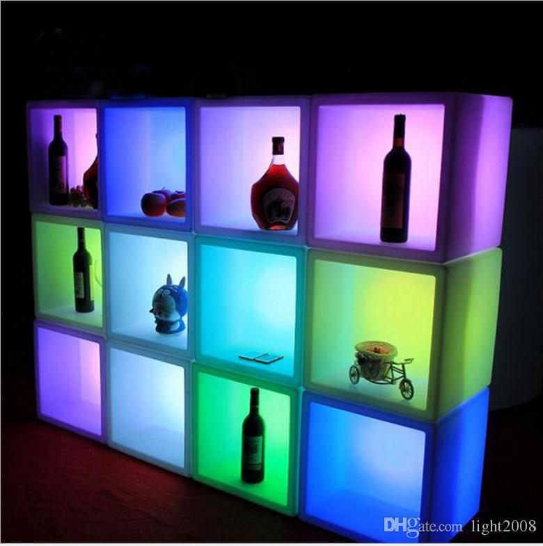 أكريليك 400x400x400mm RGB بقيادة صناديق النبيذ الجليد أدى ضوء مجلس الوزراء مع جهاز التحكم عن بعد والشاحن أدى خزائن النبيذ لوضع الآخرين زجاجة