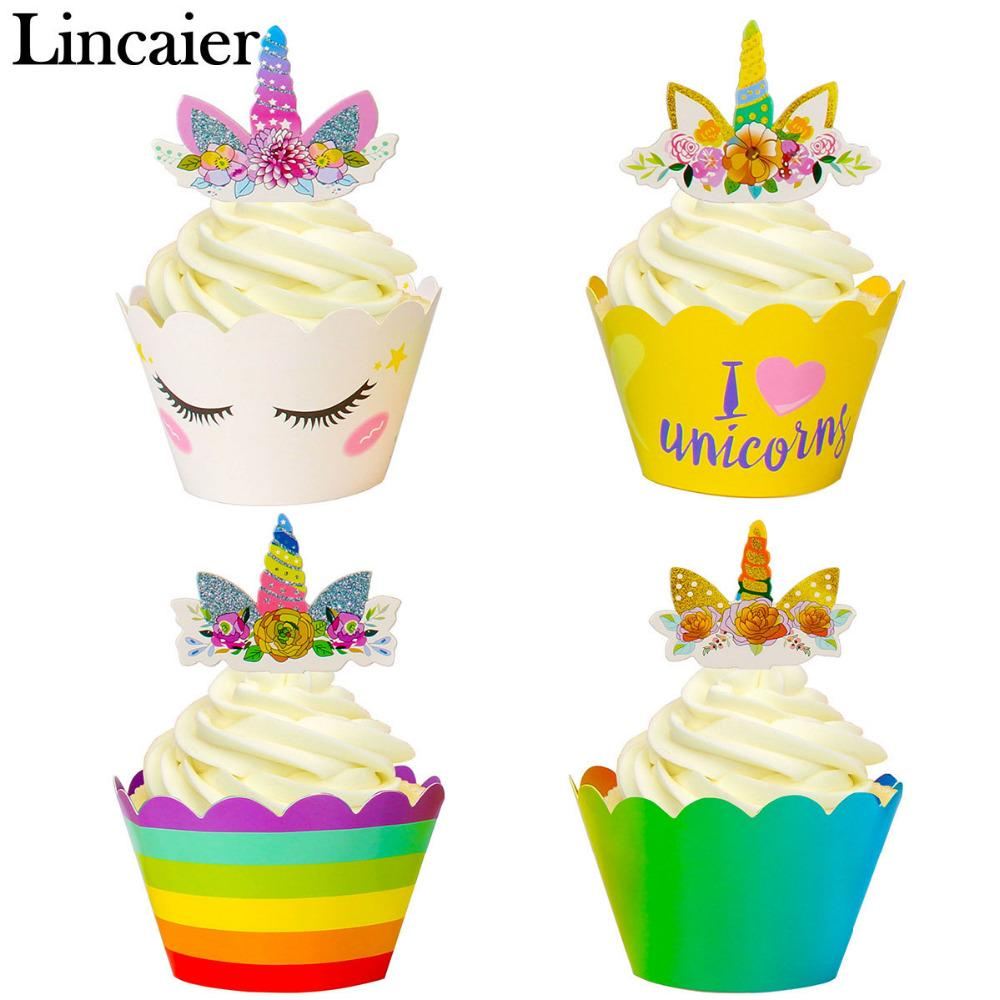 2019 Lincaier Unicorn Rainbow Birthday Party Decoration Cake Topper Wrappers Kids Babyshower 1st Boy Girl 2 3 From Instrumenthome 2615