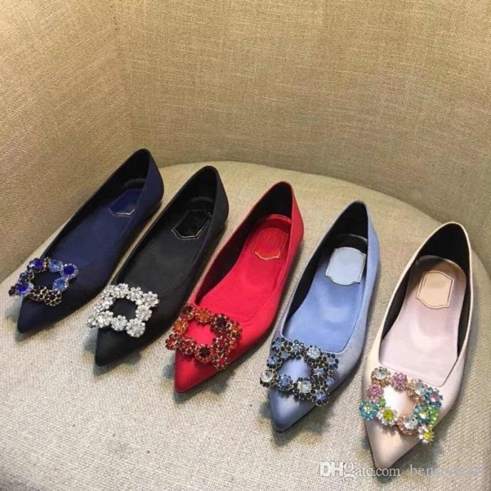 27c7ac06defc1 Brand Women Cow Leather Flat Dress Wedding Shoe Satin Flats Fashion Pointed  Toe Rhinestone Buckle Boat Shoe Office Lady Single Shoe
