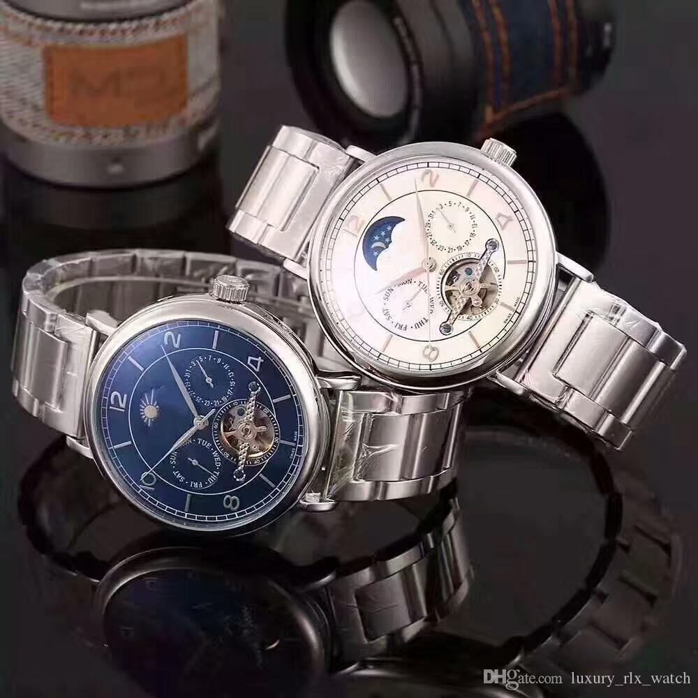 9f1da47608b Compre Luxo Suíço Marcas Relógio Mecânico Automático Dos Homens Com Dia   Data  Relógios De Pulso De Aço Inoxidável De 43mm Relógios De Pulso Aaa Alta ...