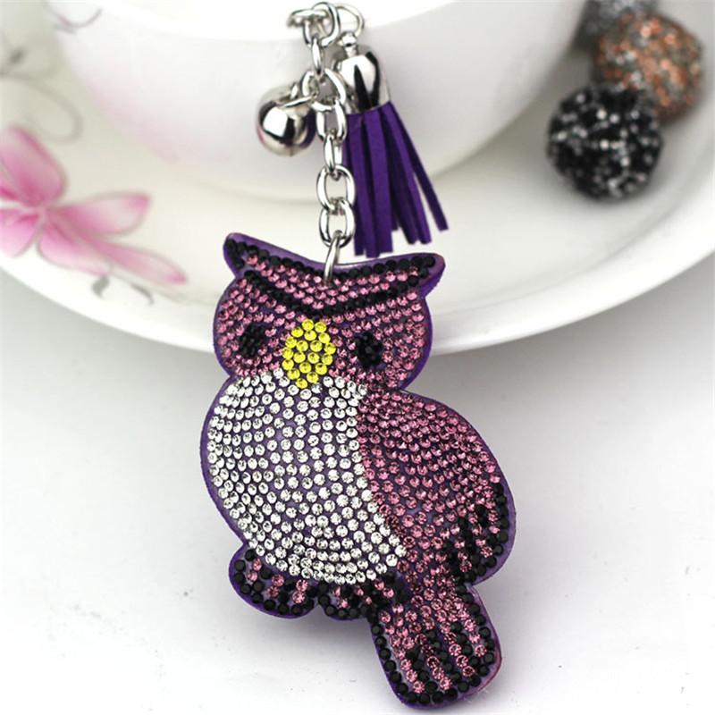Cute Owl Keychain Rhinestone Crystal Keyring Car Key Chain Women Silver Key  Holder Ring Bague Wholesale Jewelry 6C2365 Car Keychains Batman Keychain  From ... 844ddad06