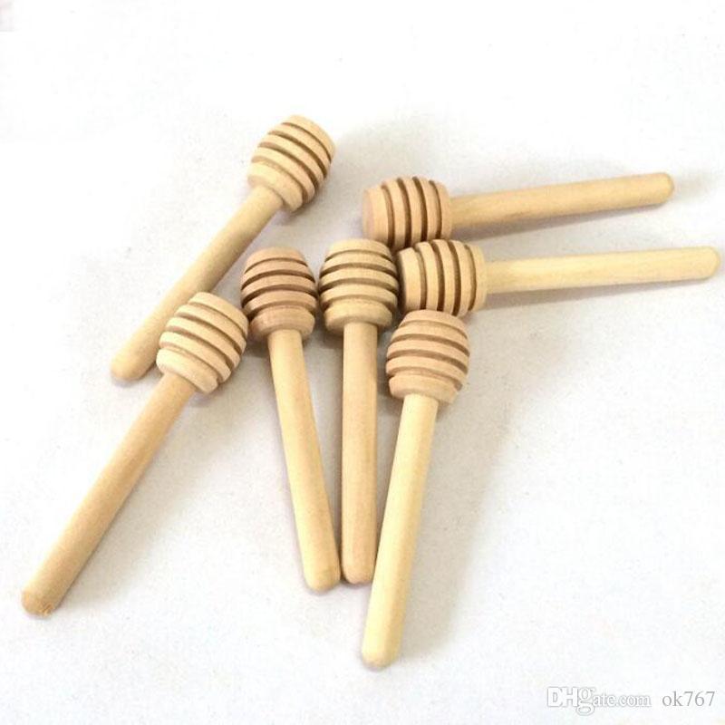 Nuevo 8 cm de largo Mini palo de miel de madera Cucharas de miel Suministro para fiestas Cuchara Cuchara Miel Tarro Palillo