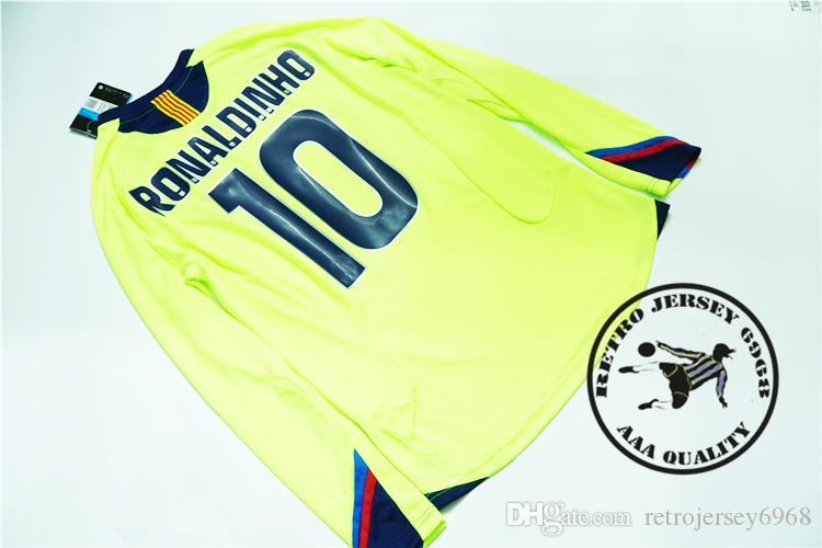 Free shipping 2005/06 long sleeves ronaldinho messi xavi puyol Ezquerro iniesta deco Maquez Giuly eto old soccer jersey futbol camisetas