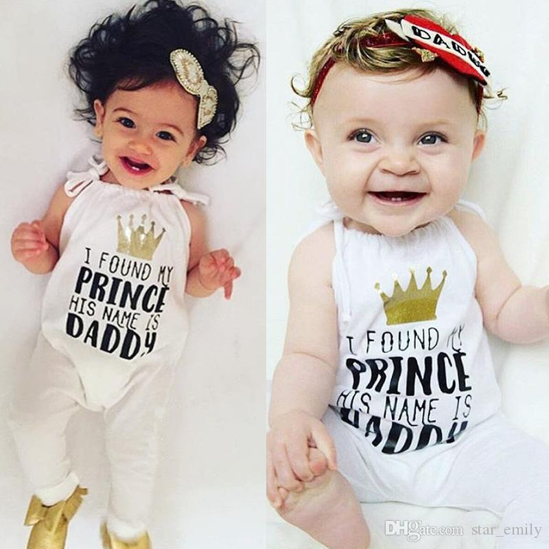 468a54a71816 2019 Summer INS Girls Rompers White Brace Jumpsuit Kid Crown My ...