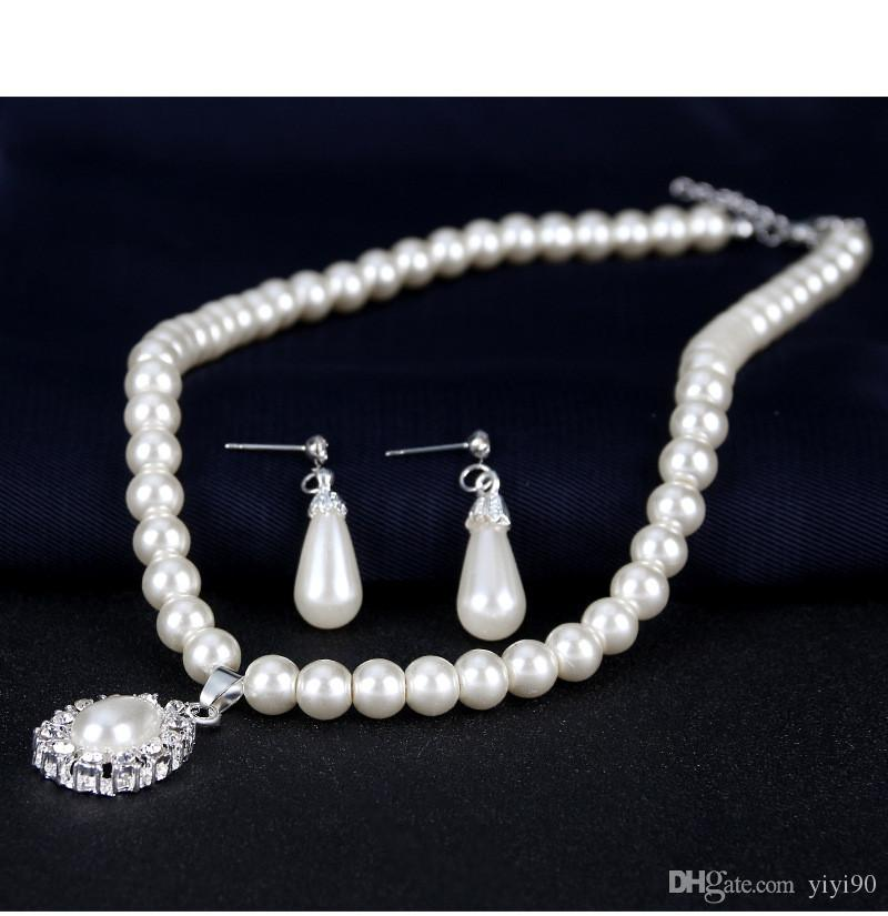 Fashion Teardrop Ball White Faux Pearl Rhinestone Necklace Pendant Stud Earrings Women Girl's Engagement Gift Jewelry