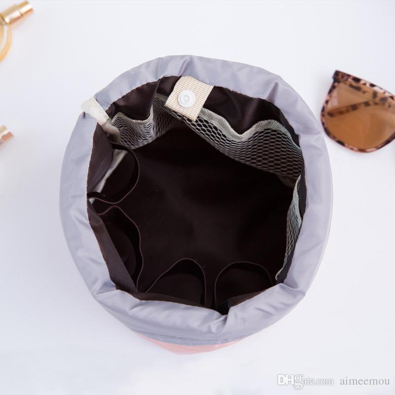 Venda quente Saco Cosmético Estilo Coreano Barril Em Forma De Saco De Armazenamento De Lavagem Pacote À Prova D 'Água Corda Desenhada Multi-Funcional Saco de Maquiagem de Viagem 11.11