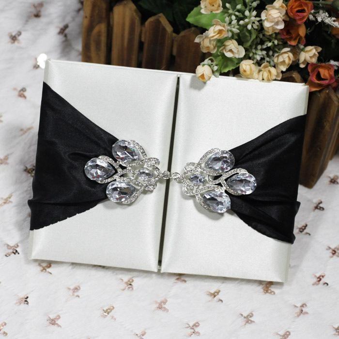 2018 Customized Luxury Wedding Gatefold Silk Invitation Box With Brooch Bright Dupioni Gift