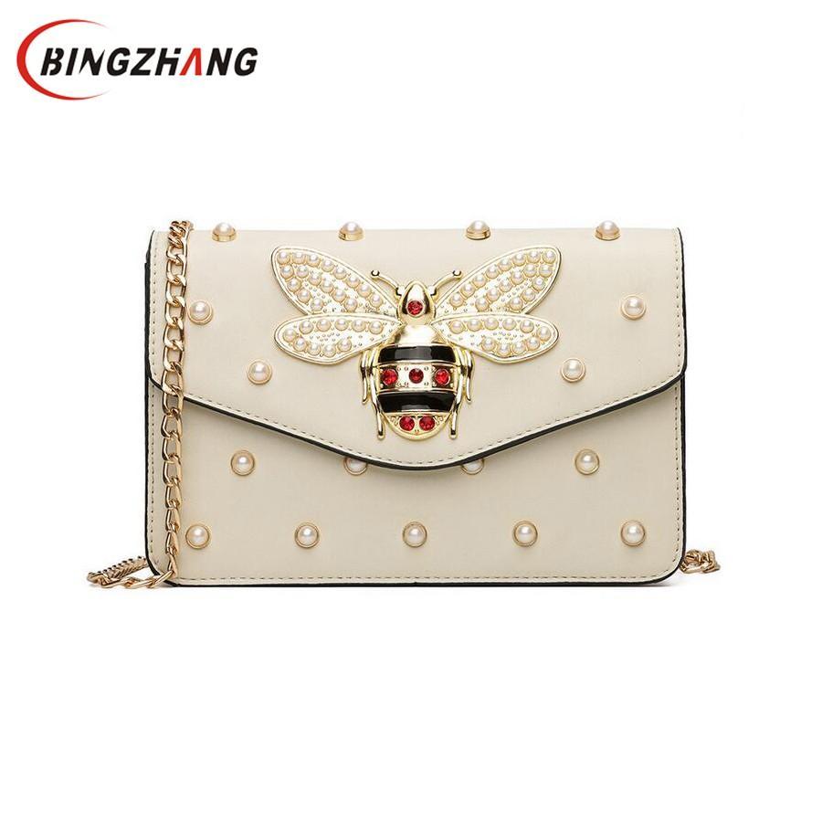 Women Brand Desinger Rhinestones Bee PU Leather Shoulder Bag Small ... c22ea63862da8