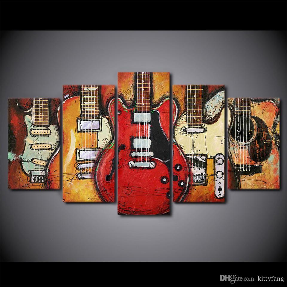 Canvas Wall Art Pictures Home Decor Quadro Guitarra Abstrata Pinturas Para Sala de TV HD Prints Abstract Posters