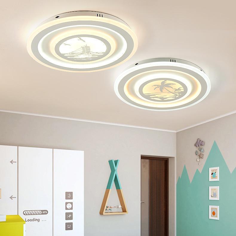 Kreative Led acryl deckenleuchte wohnzimmer post modernen minimalistischen  schmiedeeisen warm runde schlafzimmer beleuchtung D50cm