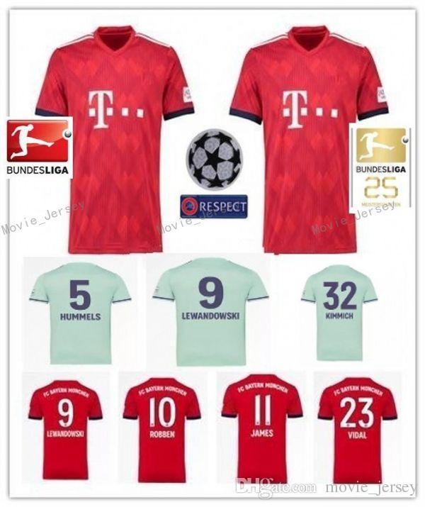f55e652e6a281 2018 2019 Bayern Munich JAMES VIDAL RIBERY GOTZE SANCHES LAHM Casa Jerseys  De Visitante 18 19 LEWANDOWSKI MULLER ROBBEN BOATENG ALABA Camiseta  Deportiva Por ...