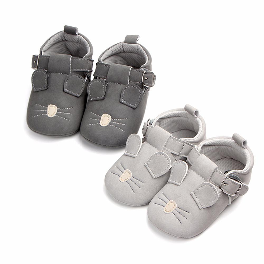 b8e83c2caa62 2019 Cute Mouse Print First Walkers Non Slip PU Leather Upper Soft Sneakers Baby  Shoes Button PU Solid Color Shoes Mouse Ear Decor From Beasy