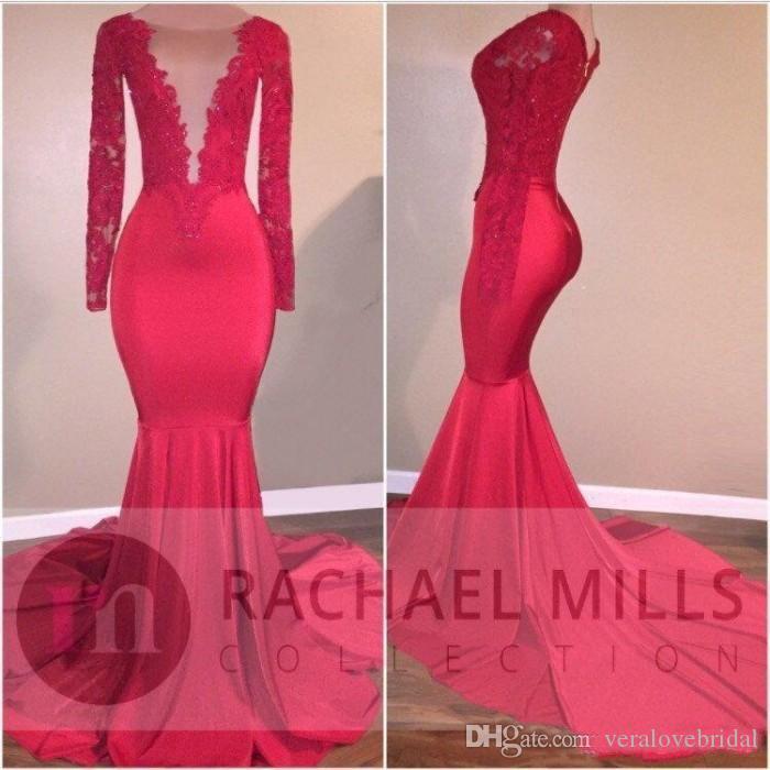 2K18 Red Mermaid Prom Kleider Abendmode Spitze Applique Pailletten Celebrity Kleider Sweep Zug Long Sleeves Party Kleid Billig
