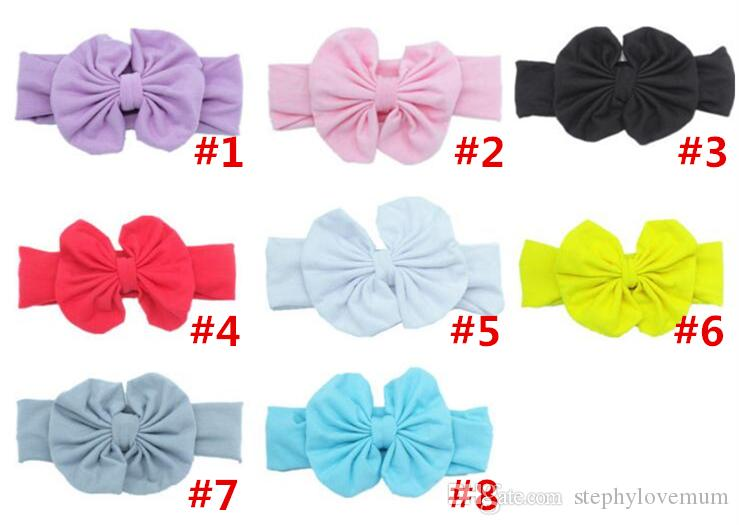 INS Baby Bow Headband Europe Style Turban Knot Elastic Head Wraps Hairbands Infant India Beanie Kids Winter Hair Accessories #014
