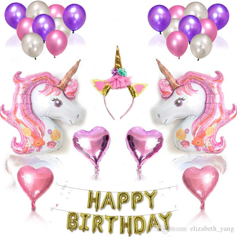 Unicorn Party Supplies and Decorations for Party Unicorn Kit with Helium Balloons and Glitter Unicorn Headband Horn Happy Birthday Banner