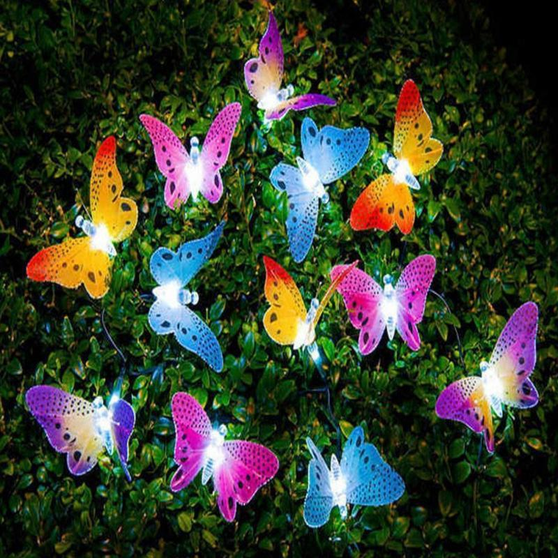 2018 Hot 12 LED Solar Powered Butterfly luce Fibra Ottica Fata String Outdoor Garden Lights lampada Holiday Festival Party Decor