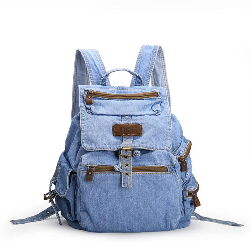 Vintage Casual Preppy Style Simple Denim Backpack School Bags Jeans ... 250517f606