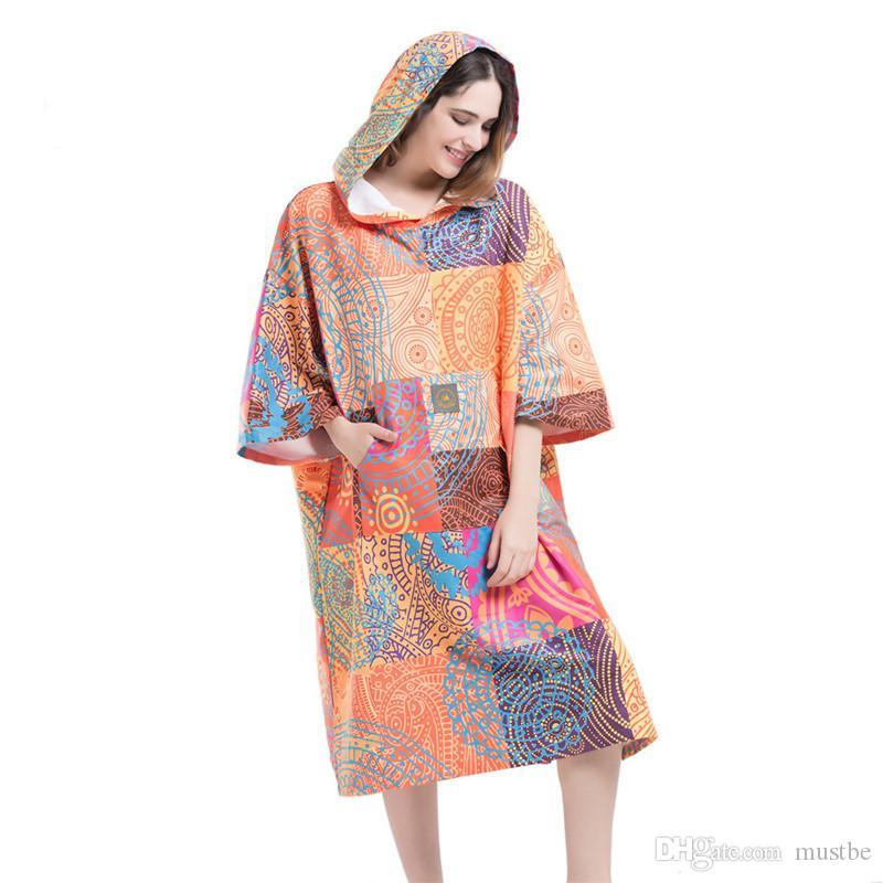 d61e79bcb92a Bosemia Printing Changing Robe Bath Towel Fashion Outdoor Adult Hooded  Beach Towel Poncho Movemen Women Man Bathrobe Towels Cheap Beach Towel 100  Cotton ...