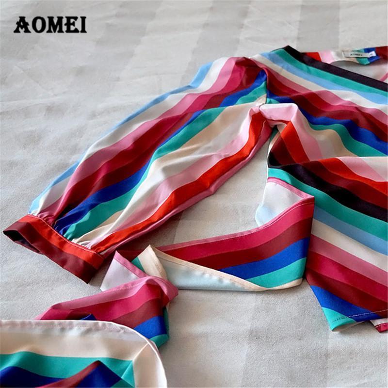 Rainbow Striped Blouse Shirts for Women Peplum V Neck Summer Beachwear Tops Fashion Bowties Waist Belt Spring Blusa Purple 3XL