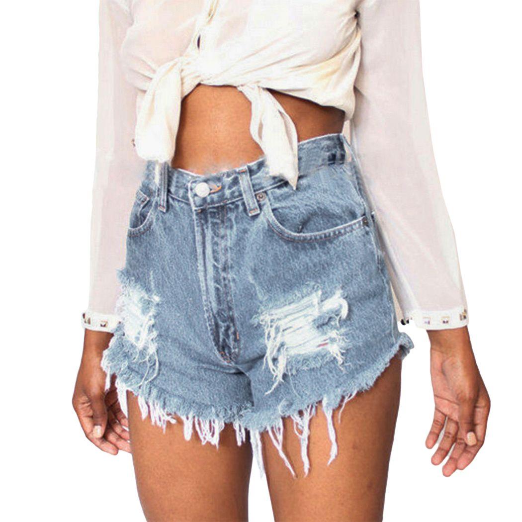 4fce4e7f499f 2019 Women Distressed Ripped Denim Shorts Sexy High Waist Blue Jeans ...