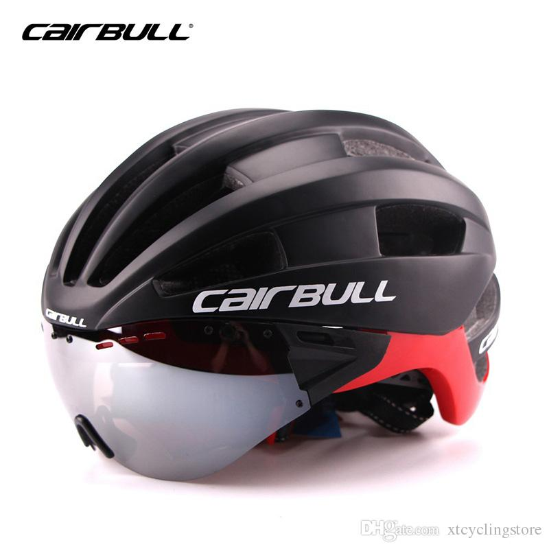 Cairbull Aero Adult Goggles Helmet Bicycle Racing Time Trial Helmet Sports Safety In-mold TT Lens Helmets M L 54-62cm Glasses TK02