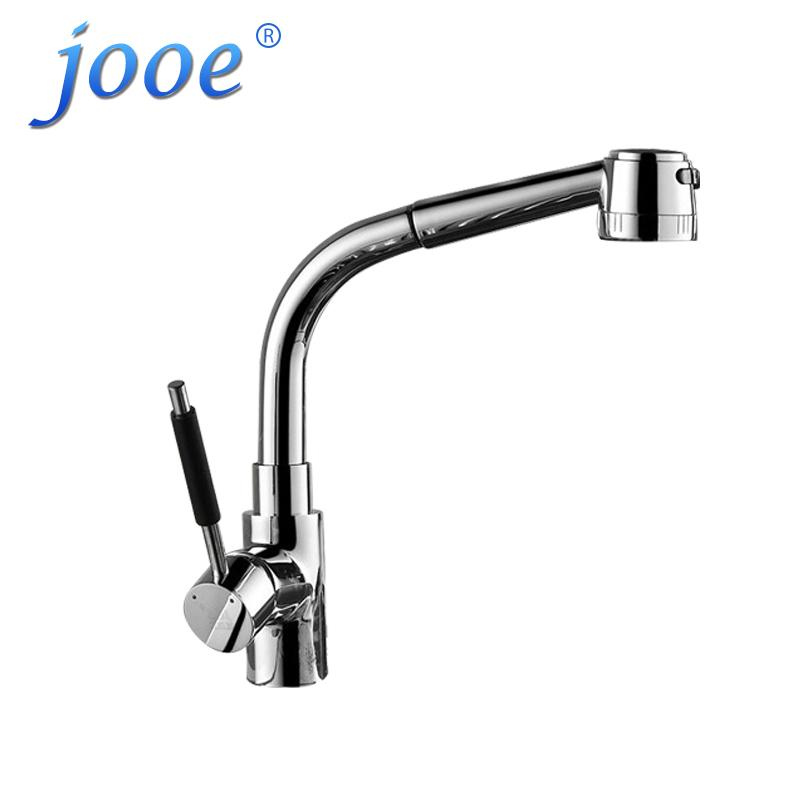 Jooe Lead Free Copper Pull out Kitchen Faucet Chrome Hot And Cold ...