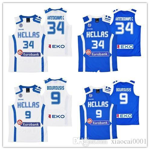quality design 4c368 8648a Wholesale Giannis Antetokounmpo #34 Hellas Eurobank Greece Jerseys #9  BOUROUSIS Sewn Any Name Mens White Blue Stitched vest Jerseys