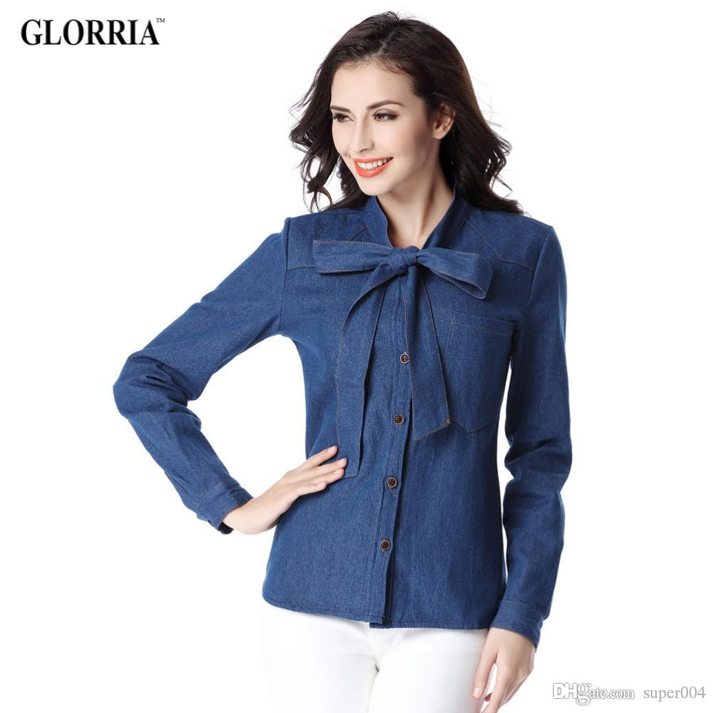 Glorria Women Denim Bow Pocket O-Neck Long Sleeve Blue Blouses New Spring&Autumn Style Casual Jeans Shirts Tops