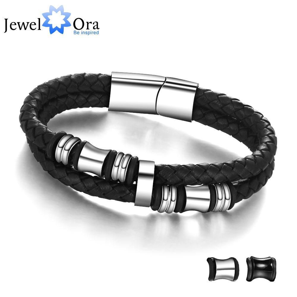 Acheter Acier Inoxydable Hommes Bracelet Véritable Bracelets En Cuir Bracelets  Homme Bijoux Cadeau Fête Des Pères JewelOra BA101174 De $39.93 Du Baozii