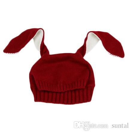 Kış sıcak Bebek Tavşan Kulaklar Örme Şapka Bebek bunny Caps Çocuklar 0-2 T Için Kız Erkek bere şapka Fotoğraf Sahne