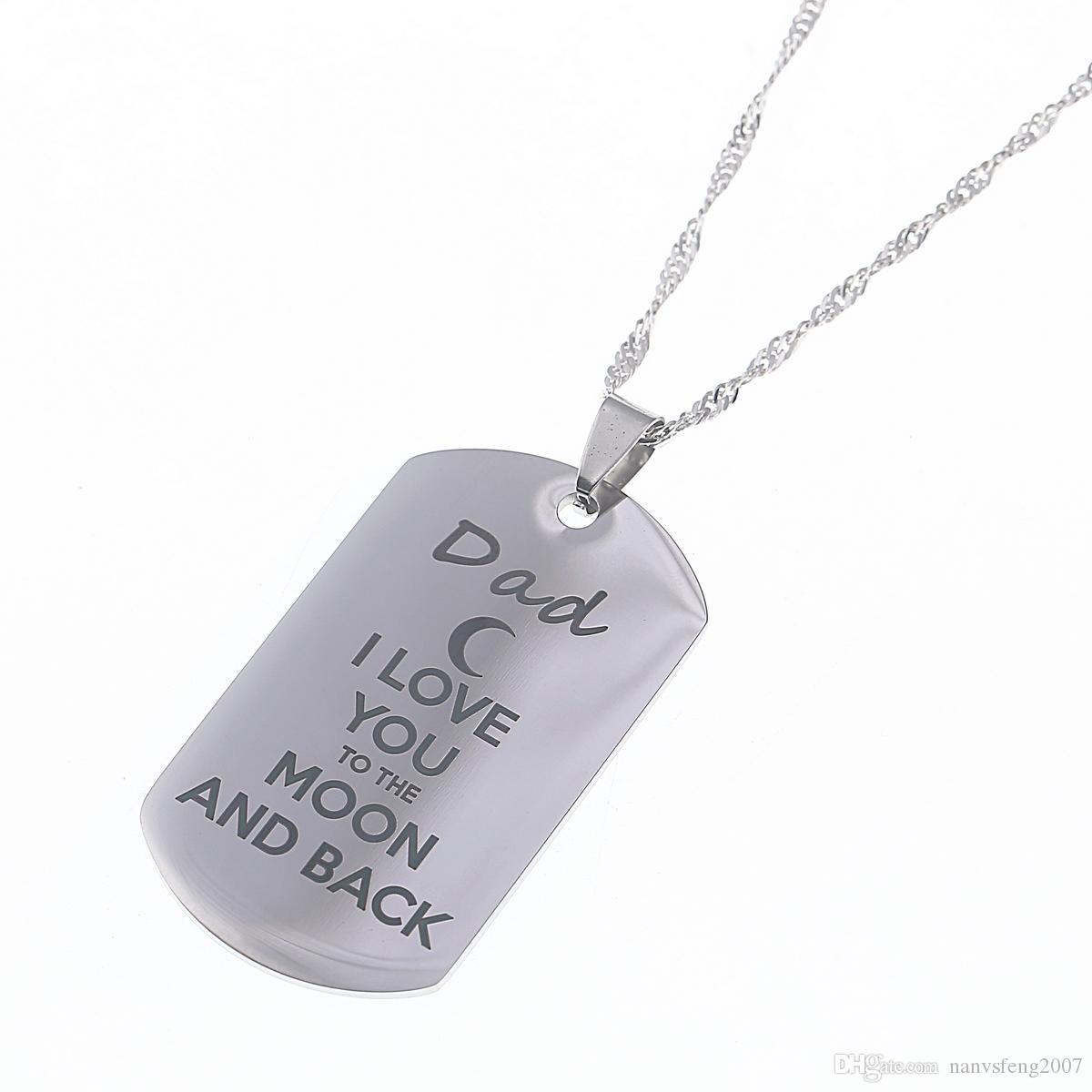 "Stainless Steel Pendant Necklace "" I Love You To The Moon and Back ""Dog Tag Necklace Military Mens Jewelry Family Gift"