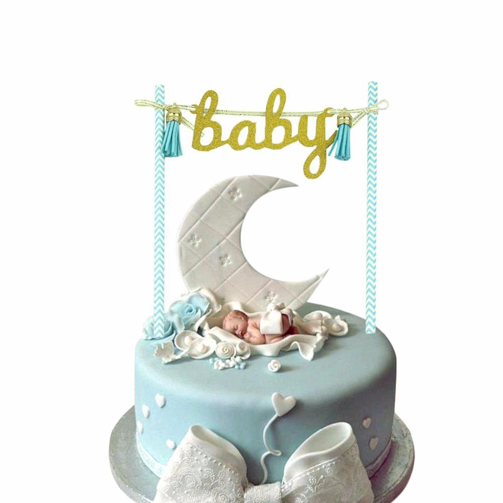 2019 Laphil Baby Shower Cake Topper Blue Pink Baby Tassel Banner