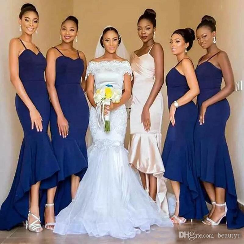 Royal Blue High Neck Mermaid Bridesmaid Dresses 2018 Elegant