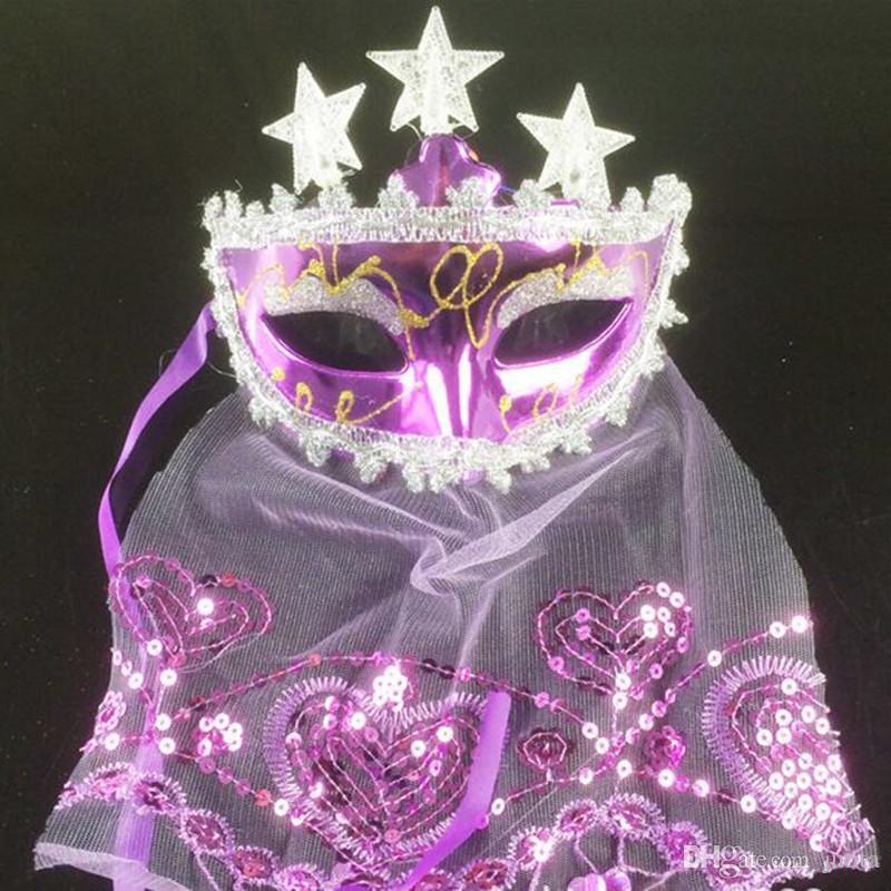 Women Flashing Light up Star Mask Lace Veil Sexy Colorful Venice Princess Masks Bar KTV Masquerade Party Decorations