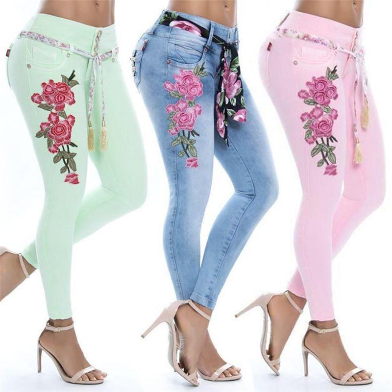 Compre 5XL Tallas Grandes Mujeres Pantalones Vaqueros Florales Damas Sexy  Estampado De Flores Vaqueros Pitillo Pantalón Largo De Algodón Sahess Azul    Verde ... 913eec77320f